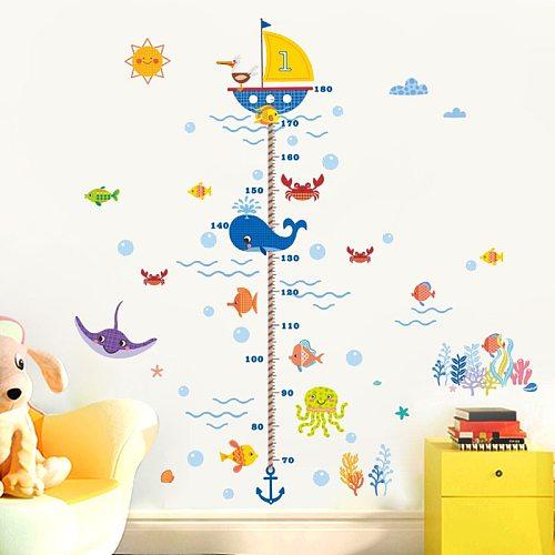 Nursery Height Growth Chart Wall Sticker Kids Boys Girls Underwater Sea Fish Anchor Finding Nemo Decorative Decor Decal Poster