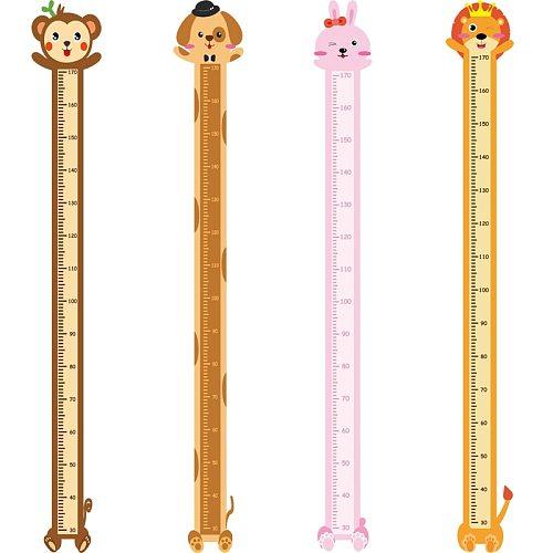 Removable Cartoon Animals Wall Sticker Kids Child Growth Height Measure Chart Table Monkey Dog Rabbit Lion Nursery Room Decor