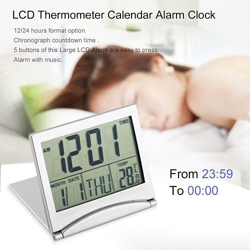 Alarm Clock Digital Lcd Display Thermometer Alarm Clock Calendar Flexible Cover Desk Clock P20 Home Decoration Gifts