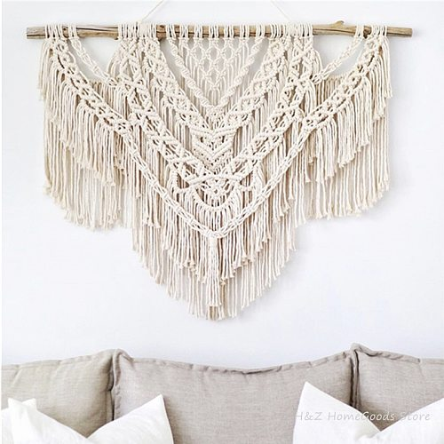 Large Macrame Tapestry Wall Hangding Geometric Art Wall Decor Bohemian Home Bedroom Background Chic Handicrafts Woven Tapestry