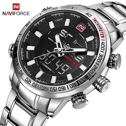 NAVIFORCE Top Brand Men Military Sport Watches Mens LED Analog Digital Watch Male Stainless Quartz Clock Relogio Masculino 9093