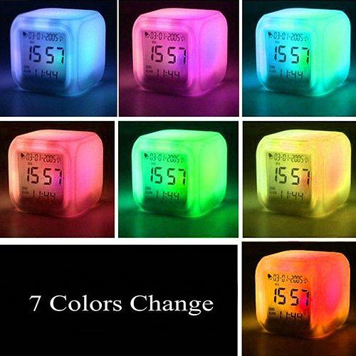 Alarm Clock Cool LED Clock Popular Pattern Night Light Color Clock Leisure durable practical Convenience Home