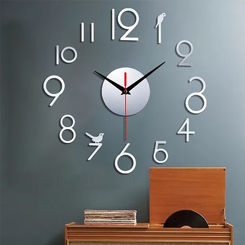 1 PCS DIY Creative Digital Acrylic Wall Clock Frameless Mirror Stickers Modern Art Decal Funny Homes Decor Modern Decors 50x50cm