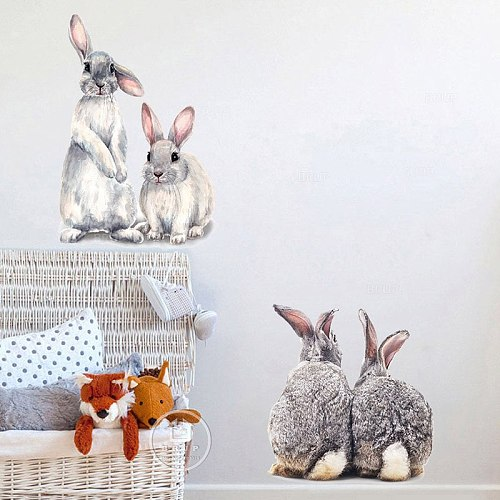 Cute Two Grey Bunny Rabbit Hares Wall Stickers for Kids Room Baby Nursery Room Decoration Wall Decals Home Decor PVC Removable