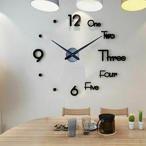 Modern Design DIY Large Wall Clock 3D Mirror Wall Clock Creative Circular Wall Sticker Home DIY