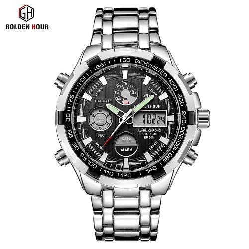 GOLDENHOUR Luxury Brand Waterproof Military Sport Watches Men Silver Steel Digital Quartz Analog Watch Clock Relogios Masculinos