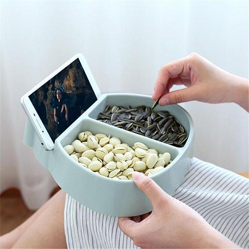 Living Room Ladybug Shape Lazy Snack Bowl Plastic Snack Storage Box Bowl Lazy Fruit Melon Seeds Plate Bowl With Phone Holder
