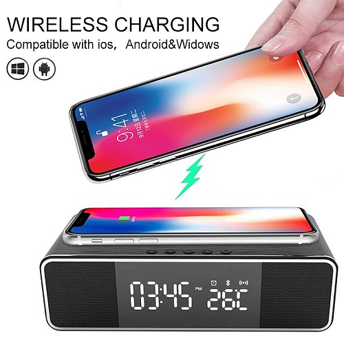 Electric LED Alarm Clock With Phone Wireless Charger Date FM Radio Bluetooth Speaker Digital Thermometer Clock HD Mirror Clock