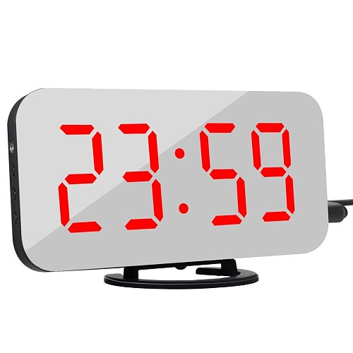 LED Digital Alarm Clock Creative Mobile Phone Charging Mirror Snooze Alarm Clock Electronic Alarm Clock