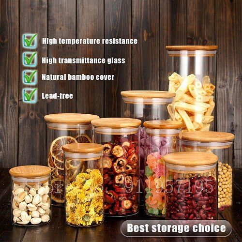 Container for Cereals Glass Jars Sealed Cans with Cover Kitchen Food Storage Bottles Mason Spice Jars Storage banks Tea Box