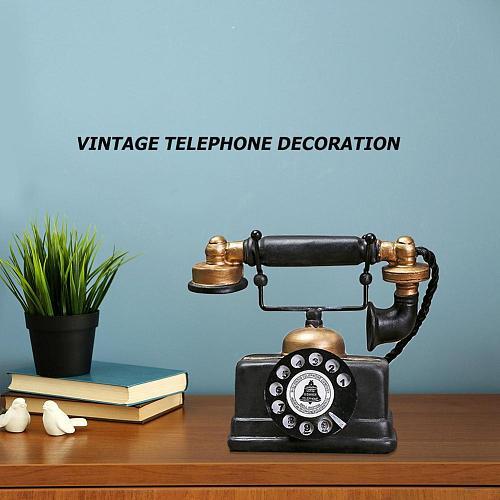 Vintage Telephone Model Antique Desktop Ornament Craft Bar Home Decoration Gift Exquisite Workmanship Simple Atmosphere