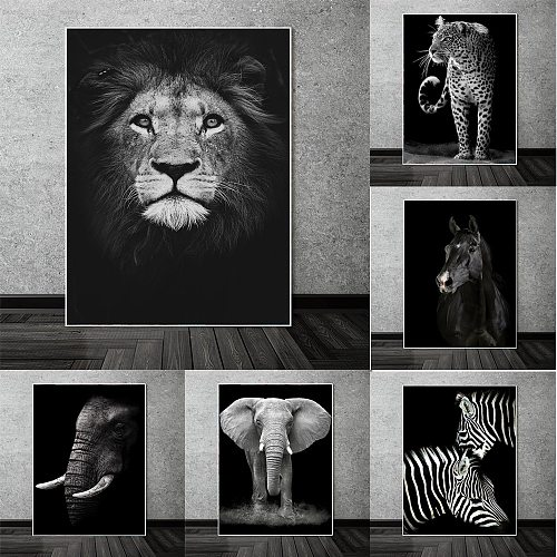 Black And White Animals Canvas Art Posters and Prints Lion Head Paintings on the Wall Nordic Art Animal Pictures Home Decoration