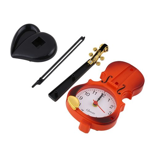 2018 New 2 Colors Creative Instrument Table Clock Student Violin Gift Home Decor Fiddle Quartz Alarm Clock Desk Plastic Craft