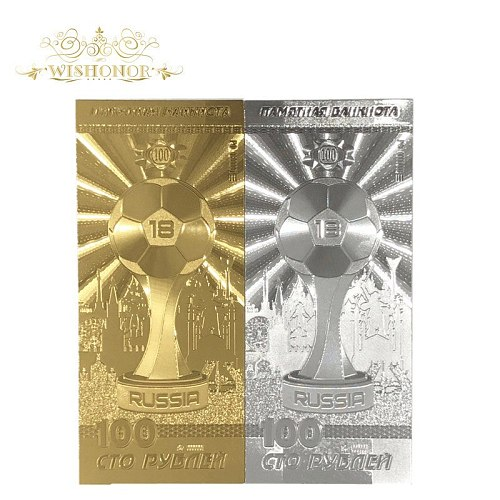 2pcs Hot Sales Color Russia Gold and Silver Banknote World Cup Banknotes 100 Rubles Banknote in 24k Gold Money For Collection