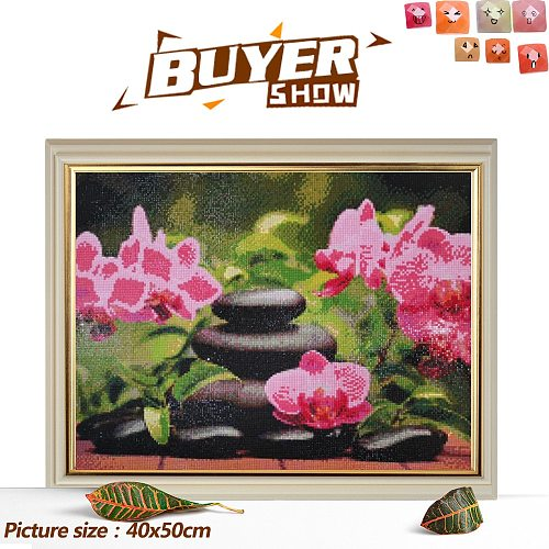 HUACAN Diamond Painting Orchid Stone Candle Home Decoration Full Square Drill Cross Stitch Kit Mosaic Flower Embroidery