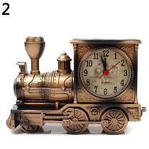 Retro Nostalgic Train Alarm Clock Antique Engine Design Table Desk Decor Clock Office Table Decor Model Alarm Clock Student Kids