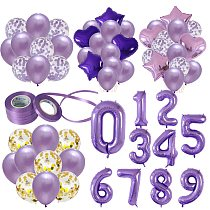 40'' gaint Purple Foil Number Balloons Latex Happy Birthday Party Decor Ballon Adult/Kid Baby Shower/Wedding Decoration Supplies