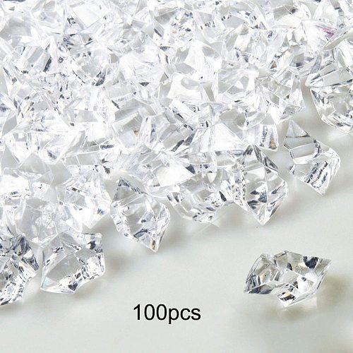 100pcs Fake Crushed Ice Rocks Acrylic Crystal Stone Ice Rhinestones Crystal Gem Stone Irregular Photography Fish Tank Decor