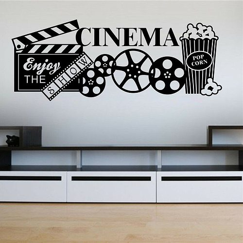 Film Wall Decal Cinema Strip TV Movie Media Room Theater Popcorn Wall Decals Film Leisure Room Decoration Removable  Wall Decor