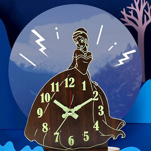Battery Operated Cartoon Princess Analog Alarm Clock, Small Silent Movement Bedside Desk Table Gift Clock for Kids Baby Shower