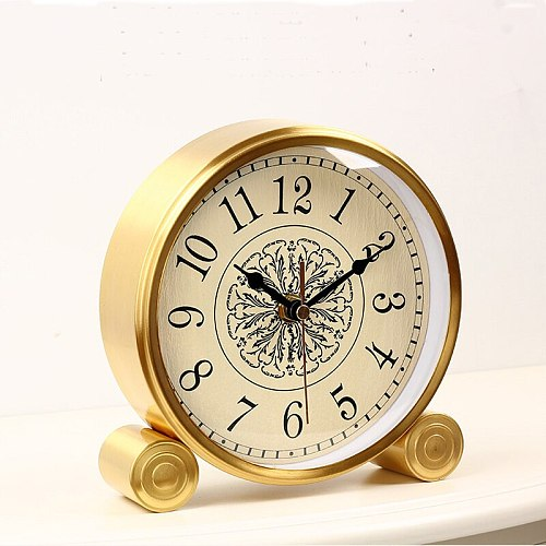 Luxury Pure Brass Table Clock Living Room Bedroom Clock Table Decoration Quartz Clock Movement Mechanism European Table Watch