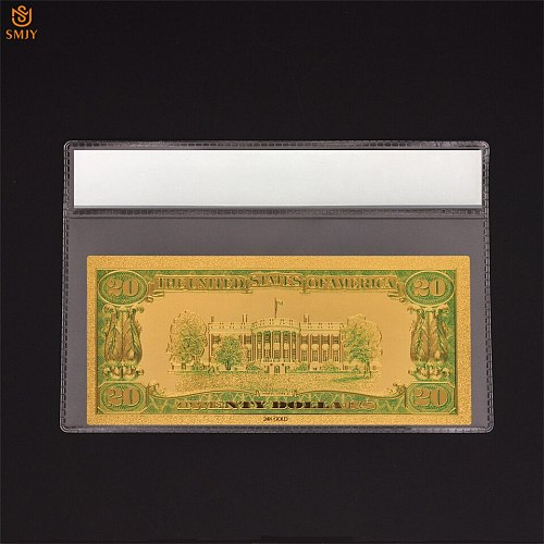 New Souvenir Gift Product Colorful American Currency Paper 20 Dollar Money 24k Gold Plated banknote  Collections With COA