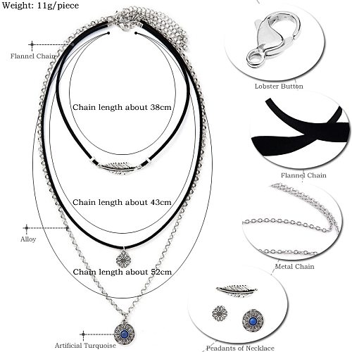 Bohemian Flannel Long Necklace Women Accessories Leaf Sundial Pendants Multilayer Chains Necklaces Love Ornaments Friendly Gifts