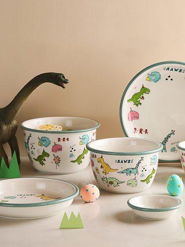 Utensils for Kitchen Child Ceramic Tableware Set Cartoon Dinosaur Pattern Plate Saucer Kids Cute Bowl Dishes Children Dinnerware