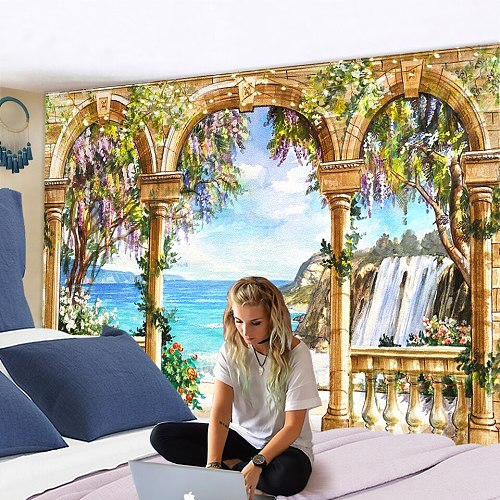 Window Tapestry View Green Plant 3D Sea Flowers Wall Hanging Carpet Blanket Bedspread Yoga Towel Home Beach Wall Decor 200x150cm