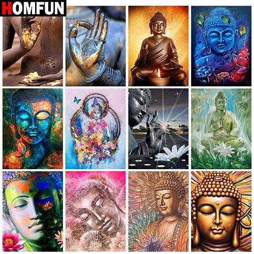 HOMFUN Diamond painting  Religious Buddha  Full Square/Round Drill Wall Decor Inlaid Resin Embroidery Craft Cross stitch