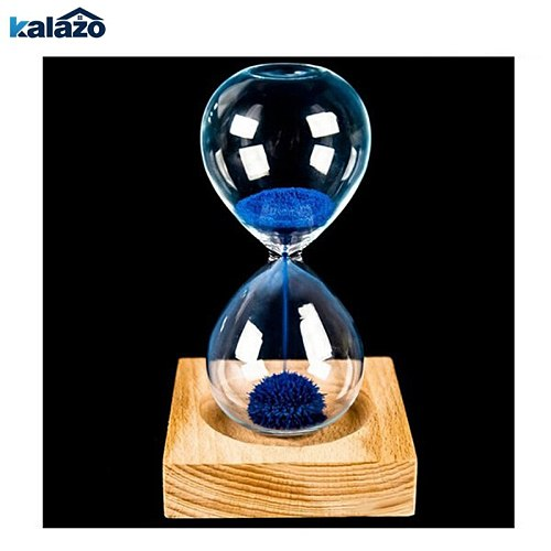 wood base iron powder hourglass sand iron flowering magnetic hourglass 13.5 * 5.5cm wooden seat with packaging Gift