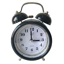 Classic 3inch Double Metal Bell Desk Table Loud Alarm Clock with Night Light Function