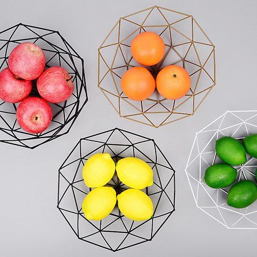 1Piece Fruit Bowl BasketSimple style Geometric Fruit Vegetable Wire Basket Metal Bowl Kitchen Storage Desktop Metal Fruit Bowl