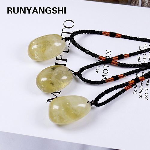 Runyangshi 1pc Brazil natural yellow crystal quartz large particles stone citrine pendant Necklace for woman gifts