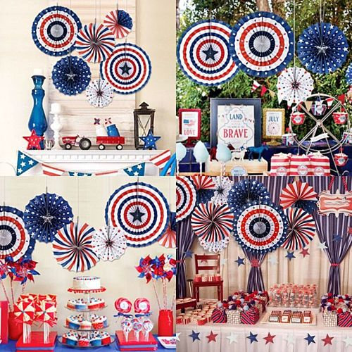 American Independence Day String Flags Banner Paper Fan Party Decoration 4 July Diy Decoration Wall Deco Colorful Paperboard