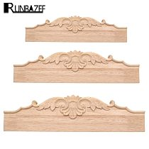 RUNBAZEF Woodcarving Applique Furniture Fittings TV Bathroom Cabinet Tooth Board Solid Wood Baffle Carved Skirt Home Decor Craft
