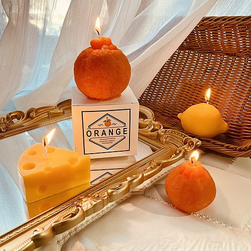 Ins Scented Candle Soy Wax Decoration Wedding Home Accessories Photo Props Souvenir Lemon Fruit Aromatherapy Cake Korean Candles