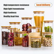 Kitchen Food Storage Transparent Glass Jars with Bamboo Cover Sealed Cans Bottles Spice Jars Candy Box Kitchen Storage Can