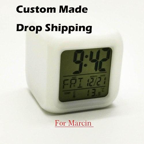 Drop Shipping electronic clock cute cartoon square light watch digital despertador LED