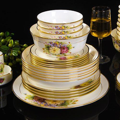 Jingdezhen ceramic bone china tableware dishes bowl plate soup spoon Western steak plate with DIY tableware