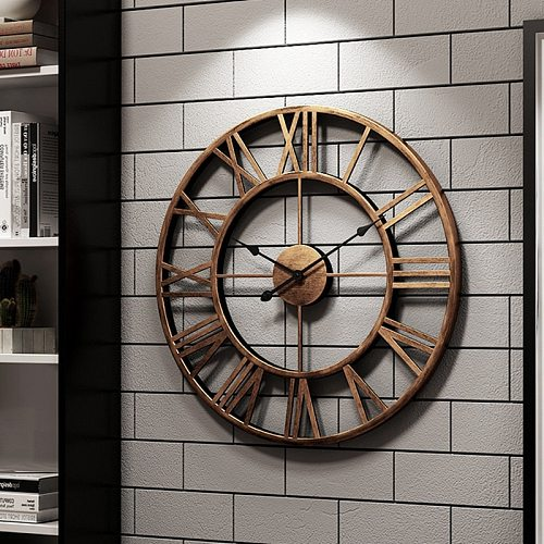 47CM New 3D Circular Retro Roman Wrought Hollow Iron Vintage Mute Decorative Piedroit Clock on the Wall Decoration for Home