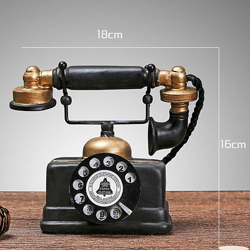 Vintage Resin Telephone Model Miniature Craft Photography Props Bar Home Decor