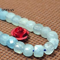 ONEVAN Natural A Blue Aquamarine Faceted Square Beads 4mm Smooth Stone Bracelet Necklace Jewelry Making Diy Accessories Design