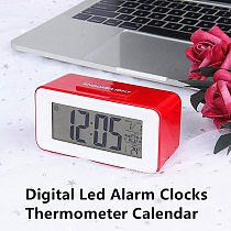 1PC Fashion Electronic Digital Led Alarm Clocks Table Calendar LCD Desk Timer Student Clocks With Week Snooze Thermometer