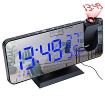 LED Digital Alarm Clock Projector Table Electronic Desktop Clocks USB Wake Up FM Radio Time Projector Snooze Function 3 Color