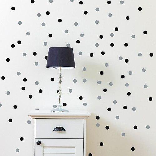 120/70 PCS 4CM And 6CM Black Tiny Polka Dots Circle Cycling Round Wall Sticker For Kitchen Refrigerator Bathroom Decor
