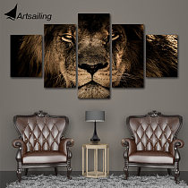 Modular Pictures 5 panels King Lion Animal Canvas painting Wall Art Picture Home Decoration For Living Room Print Paintings