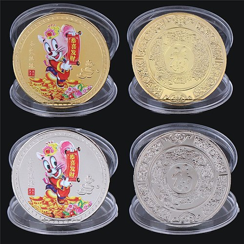 Rat Plated Non-Currency Coins Home Decor Chinese Zodiac Silver Coins Collectibles Animal Copy Coins for Birthday Gifts
