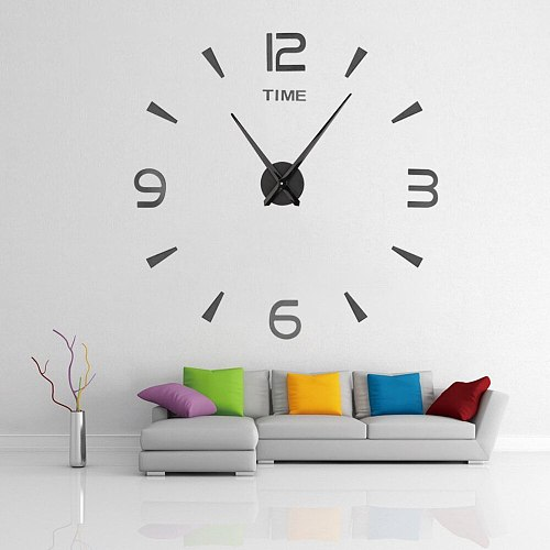 Wall Clock For Living Room Quartz Watch  Home Decoration Modern Design DIY Acrylic Sticker Clock Creative
