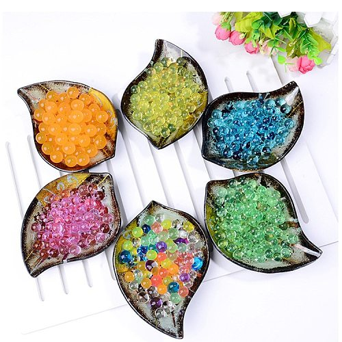 200 pcs Absorbent beads Colorful Pearl Shaped Crystal Soil Hydrogel Water Bead Mud Grow Ball Wedding Growing Bulbs Home Decor